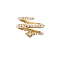 The Diamond Kite Coil Ring in Antique Gold