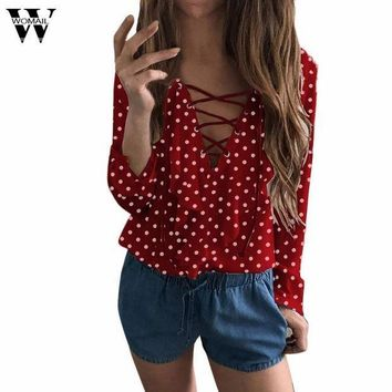CREYLD1 Womail  Women Ladies Long Sleeve Loose Blouse Spring Autumn Polka Dot V Neck Shirt Tops Blusa se25