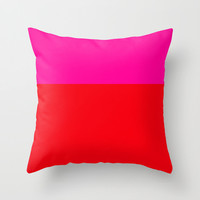 Pink and Red Colorblock Pillow Cover