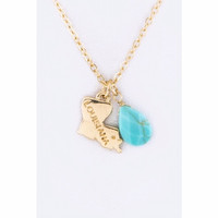 Louisiana Map with Turquoise Teardrop Necklace Gold