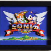 "Sonic The Hedgehog 2 (Genesis) - ""Title Screen"" 3D Video Game Shadow Box with Glass Frame"