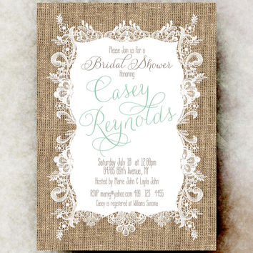 Burlap Lace Bridal Shower Invitation - Rustic bridal showerm Cottage chic bridal shower, mint green invitation, country bridal shower