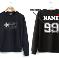 Custom name and number on back Grey Sloan Memorial Hospital Black Crew neck Sweatshirt