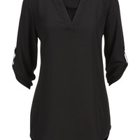 Chiffon V-Neck Tunic Top - Black