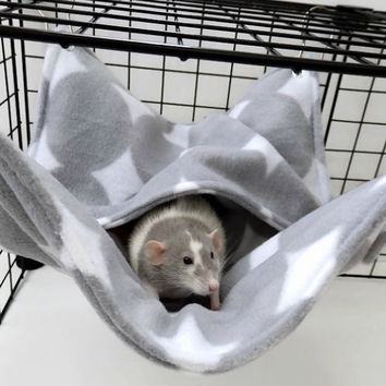 Gray Dots Double Pocket Hammock for Rats & Sugar Gliders