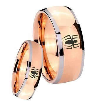Bride and Groom Spiderman Dome Rose Gold Tungsten Carbide Mens Wedding Ring Set