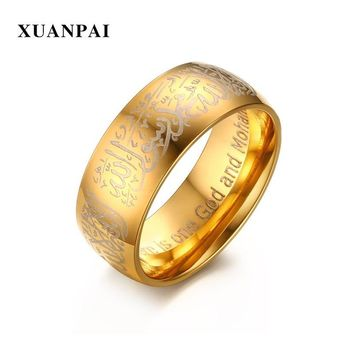 XUANPAI Muslim Allah Men's Ring 8mm Wide Gold Color Stainless Steel God And Mohammed Religion Pattern Prayer Ring Jewelry
