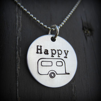 Happy Camper Hand Stamped Necklace in Aluminum and Stainless Steel-Nerdy Jewelry-Geeky Jewelry-Happy Camper Jewelry