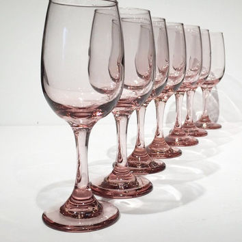 Set of 7 Pink Libbey Premier Wine Glasses, Vintage Pink Stemware