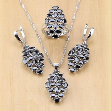 Hyperbole Black Cubic Zirconia 925 Sterling Silver Jewelry Set For Women Party Earrings/Pendant/Necklace/Ring