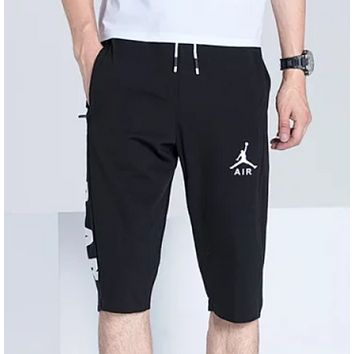 NIKE Jordan New Fashion Summer Letter Print Sports Leisure Couple Shorts Black