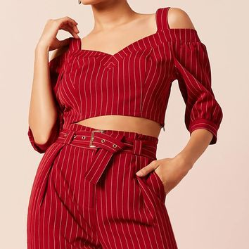 Pinstripe Crop Top & Pants Set