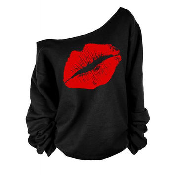 Stylish Skew Neck Long Sleeve Lip Print Women's Sweatshirt
