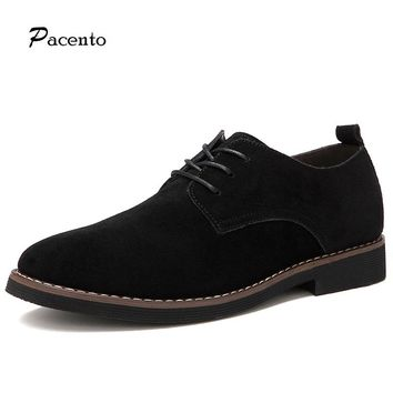 PACNETO Brand Genuine Suede Leather Men Casual Shoes Breathable 9f1fb22be264