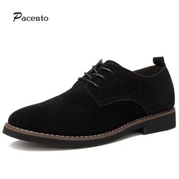 PACNETO Brand Genuine Suede Leather Men Casual Shoes Breathable Men British Oxford Shoes Big Size 11 Lace-Up Chaussure Homme
