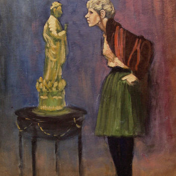 Vintage Mid Century Modern Ehrlich Painting - The Critic, 1965
