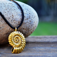 Ursula Costume Reproduction Necklace, Little Mermaid Necklace, Ursula Cosplay, Ariel's Voice, Gold Shell on Black Leather, Ammonite Fossil