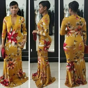 Yellow Tribal Floral Print Draped Plunging Neckline Bodycon Homecoming Party Maxi Dress