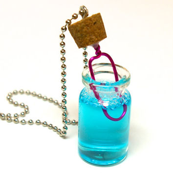 Bubble Wand Necklace- Mini Bottle with Bubble Liquid and Wand