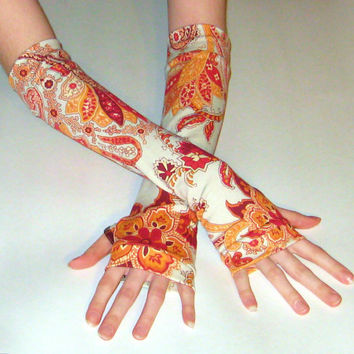 Sunshine - arm warmers with an orange red white paisley and mehndi print cotton jersey knit fabric - Handmade