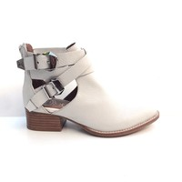 Jeffrey Campbell – Everly Cut-Out Ankle Bootie In Beige|Thirteen Vintage