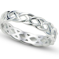 925 Celtic Knot Eternity Band Ring Sz 7 Sterling Silver