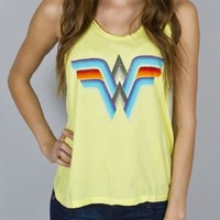 Junk Food Wonder Woman Rainbow Logo Juniors Yellow Tank Top