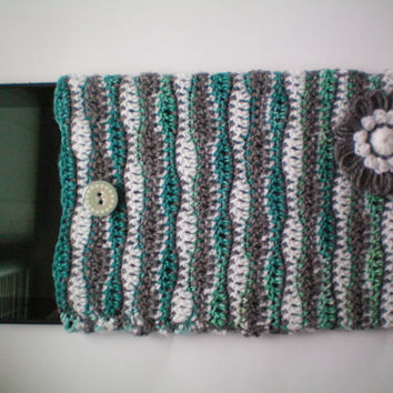 "Crochet iPad and Tablet 10.1"" display case with button in interesting color mixture of white, grey and green."