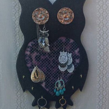 SUMMER SALE Owl Jewelry Board, OOAK Owls, Black Owls, Owl Gifts, Purple Leopard Jewelry Board, Owl Gifts for her, Owl Gifts, Unique Owl Deco