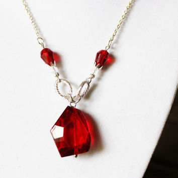 Harry Potter and the Sorcerer's Stone Necklace - Red Crystal Pendand with Smaller Red Crystals and Silver Bead Caps on a Silver Chain