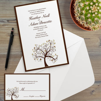 Instant Download - Autumn Tree Fall Leaves Brown Boho Bohemian Hipster Modern Wedding Bridal Shower Party Invitation RSVP Template