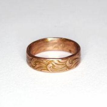 Copper Band with Art Nouveau Scrollwork  by moonkistdesigns