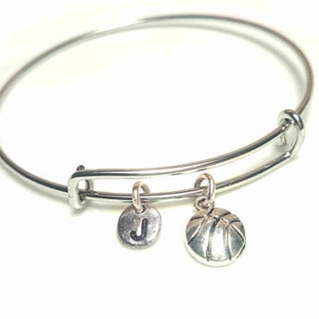 Basketball Bangle Bracelet, Adjustable Expandable Bangle Bracelet, Basketball Charm Bracelet, Pretzel charms, Basketball Jewelry,Sports Gift