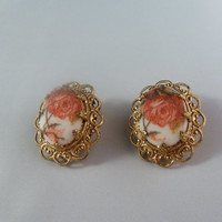 Vintage Floral Roses Porcelain Sugar Textured Filagree Earrings West Germany 1950s Costume Jewelry Clip on