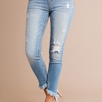 Keep Walking Distressed Jeans (Light Wash)