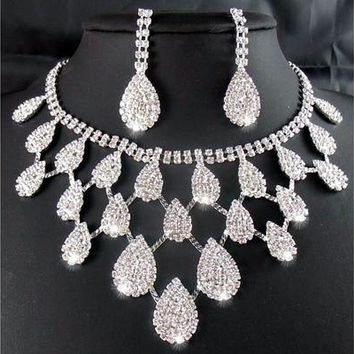 2014 Rhinestone Crystal Necklaces+Earring Hair Stick Bride Jewelry Sets for Bridal Wedding [7980778503]