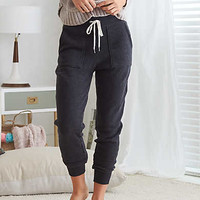 Aerie Comfy Drawstring Jogger , Charcoal Heather