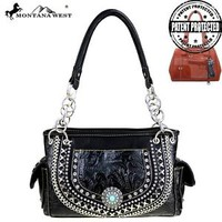 Montana West Black Concho Collection Western Style Concealed Carry Handbag