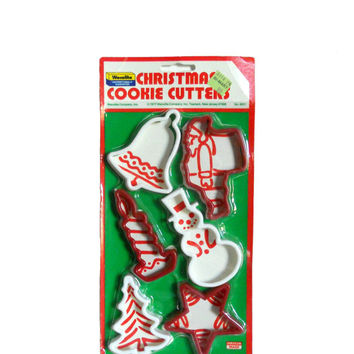 Vintage Cookie Cutters Christmas 1970s New Old Stock  Red and White Plastic- Candle Bell Santa Snowman Tree and Star