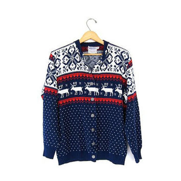 Retro Xmas Reindeer Sweater Button Up Christmas Cardigan 80s Snowflakes Blue Red White Winter Holiday Novelty Sweater Vintage Medium Large