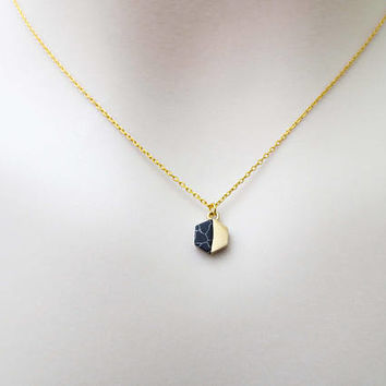 Black, Hexagon, Howlite, Gold, Necklace, Lovers, Friends, Mom, Sister, Christmas, New year, Gift