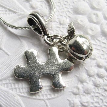 Teacher necklace autism awareness puzzle piece by CharmedByKaren