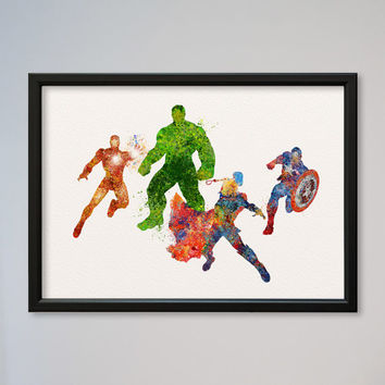 Avengers Poster Watercolor Print Marvel Comics The Avengers Assemble Superheroes