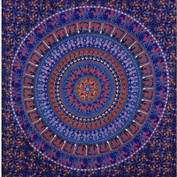 Indian Bohemian Tapestry, Mandala Tapestries, Large Wall Art, Beach Throw, Queen Size Blanket, Blue Bedding, Hippie Throw