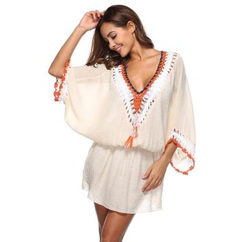 Cover ups Bikini Sexy Beach Mini Dress Lace Crochet  Swimsuit Cover Wrap Patchwork V-neck Batwing Sleeve Beach Wear Summer Dress KO_13_1