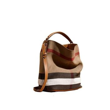 ONETOW Fashionable Brand Burberry The Ashby - Medium Canvas Check Pattern Leather Eshibe Handbags Brown
