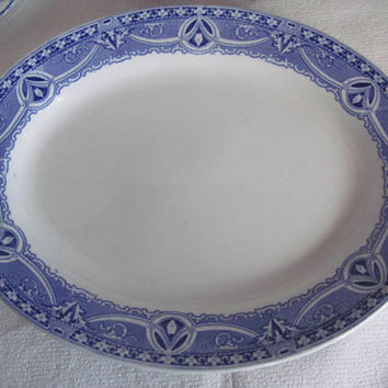 Madeleine Blue Transferware Serving Platter Blue Platters Madeleine Pattern SoHo Pottery Bolian Ware Blue and White China Flow Blue Decor