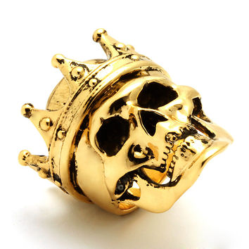 King Ice 14K Vintage Gold Crowned Skull Ring