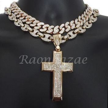"Iced Out Anchor Big Cross 16"" Iced Out Choker 18"" Puffed Gucci Chain Set G60"
