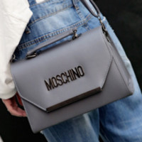 Moschino New Diagonal Portable Handbag Vintage Style Letter Bag Gray